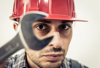 worker portrait with wrench