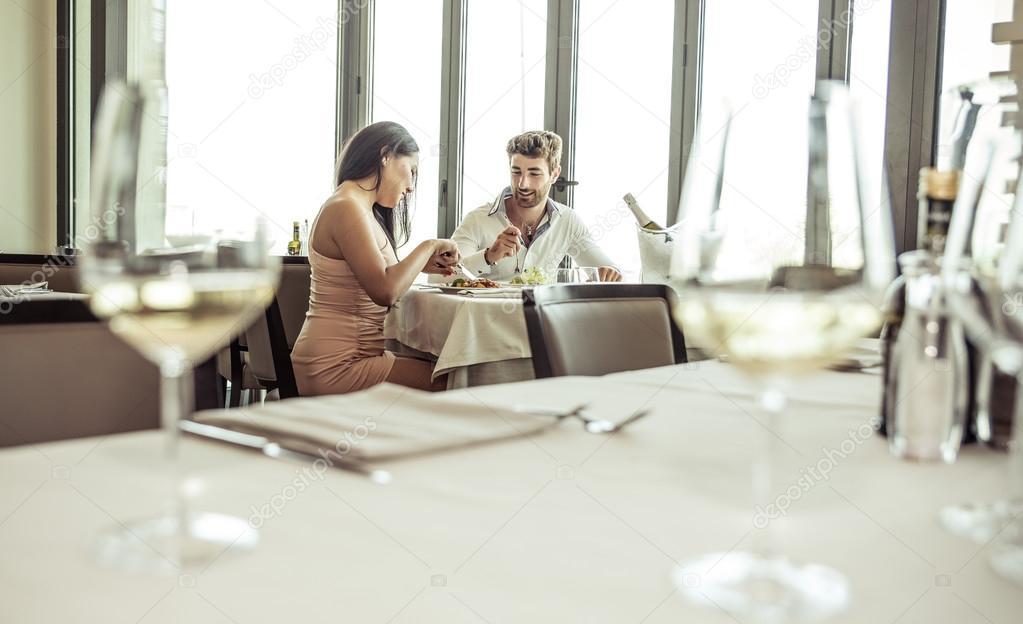 romantic lunch in a fancy restaurant