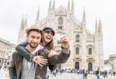 Fotografie Tourists at Duomo cathedral,Milan