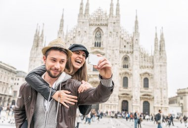Tourists at Duomo cathedral,Milan