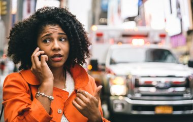 afro american woman calling