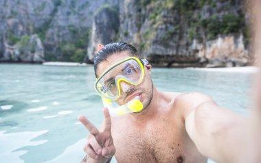 Man diving and having fun