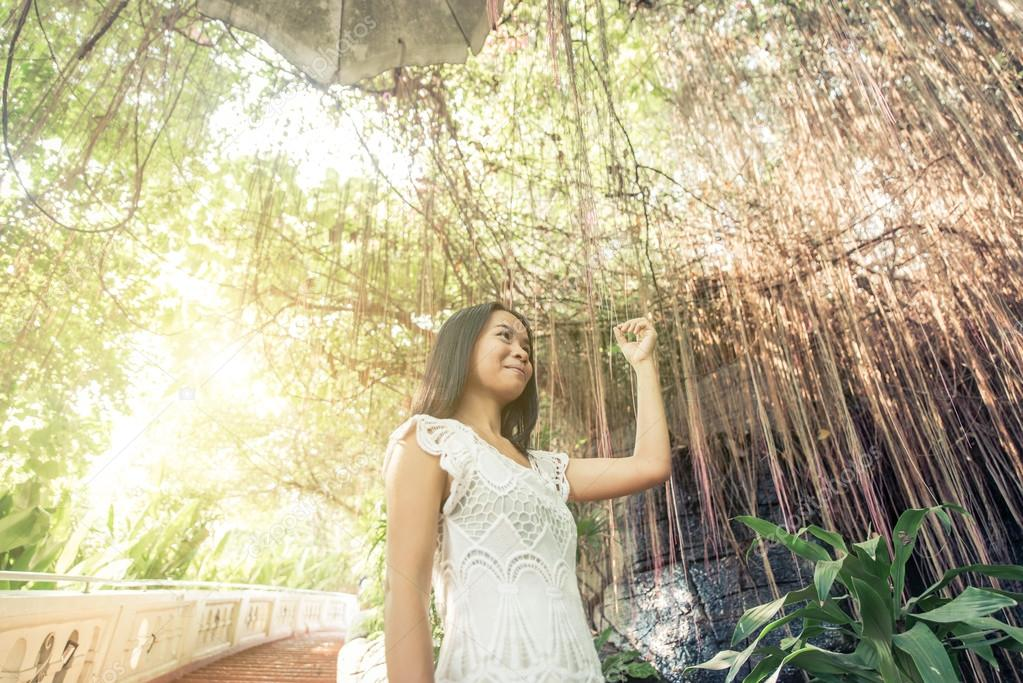 Beautiful thai girl posing in a temple