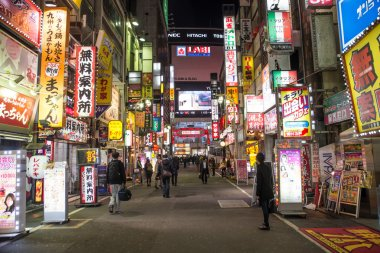 Shinjuku district with its colored billboards