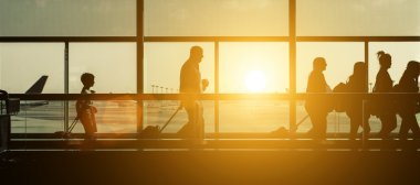 Passengers silhouettes at the airport