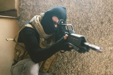 Sniper soldier in action