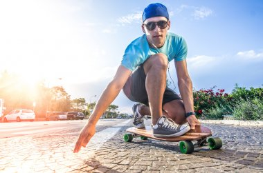 Skateboarder skating outdoors