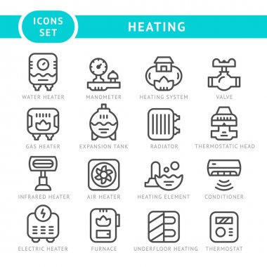 Set outline icons of heating isolated on white. Vector illustration clip art vector