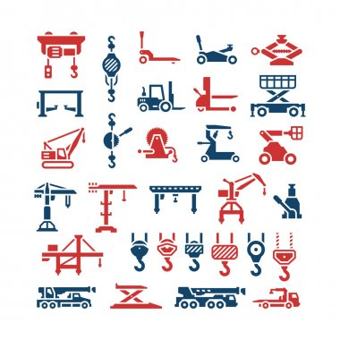 Set icons of lifting equipments, cranes, winches