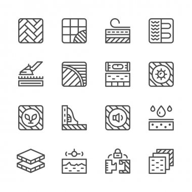 Set line icons of floor