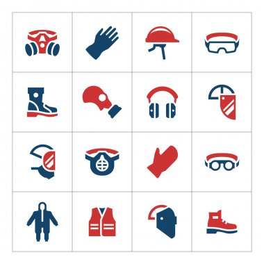 Set color icons of personal protective equipment isolated on white. Vector illustration stock vector