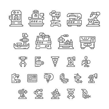Set line icons of machine tool, robotic industry
