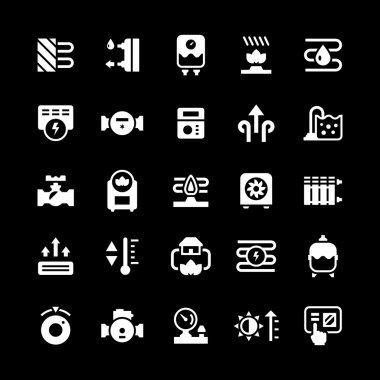 Set icons of heating isolated on black. Vector illustration clip art vector