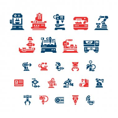 Set color icons of machine tool, robotic industry