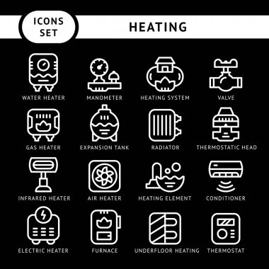 Set line icons of heating isolated on black. Vector illustration clip art vector