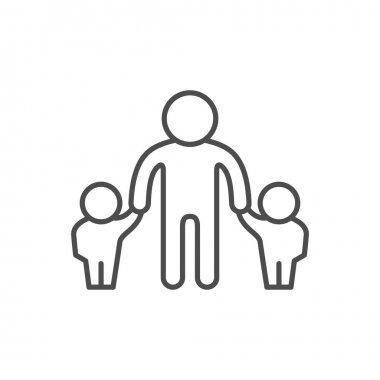 Father and children line outline icon isolated on white. Vector illustration icon