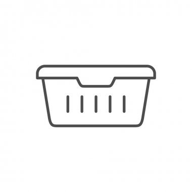 Food container line outline icon isolated on white. Vector illustration icon