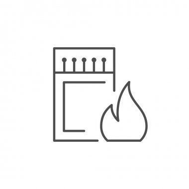 Matchbox line icon and fire concept isolated on white. Vector illustration icon