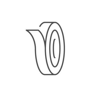 Tape roll line outline icon isolated on white. Vector illustration icon