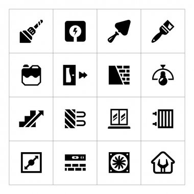 Set icons of repair and building isolated on white clip art vector