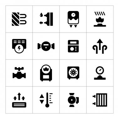 Set icons of heating isolated on white clip art vector