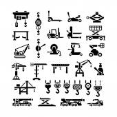 Photo Set icons of lifting equipments, cranes, winches and hooks