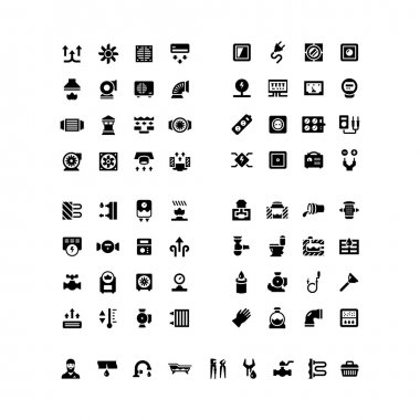 House system icons. Ventilation, electricity, heating, sewerage, plumbing