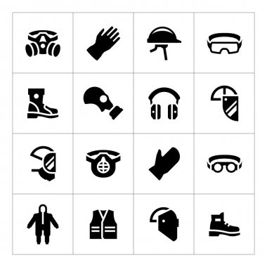 Set icons of personal protective equipment isolated on white stock vector