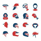 Fotografie Set farbige Symbole von Helmen und Masken