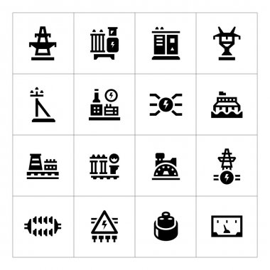 Set icons of power industry