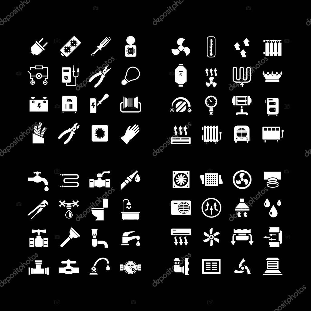 Haus System Icons. Ikonen Der Elektrizität, Heizung, Sanitär, Lüftung,  Isoliert Auf Schwarz Gesetzt U2014 Vektor Von Motorama