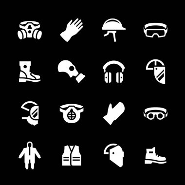 Set icons of personal protective equipment isolated on black stock vector
