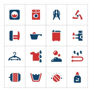 Set color icons of laundry