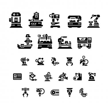 Set icons of machine tool, robotic industry