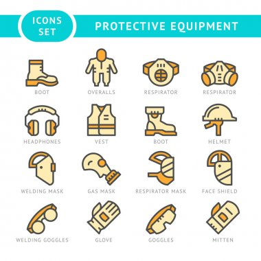 Set line icons of protecting equipment isolated on white. Vector illustration stock vector