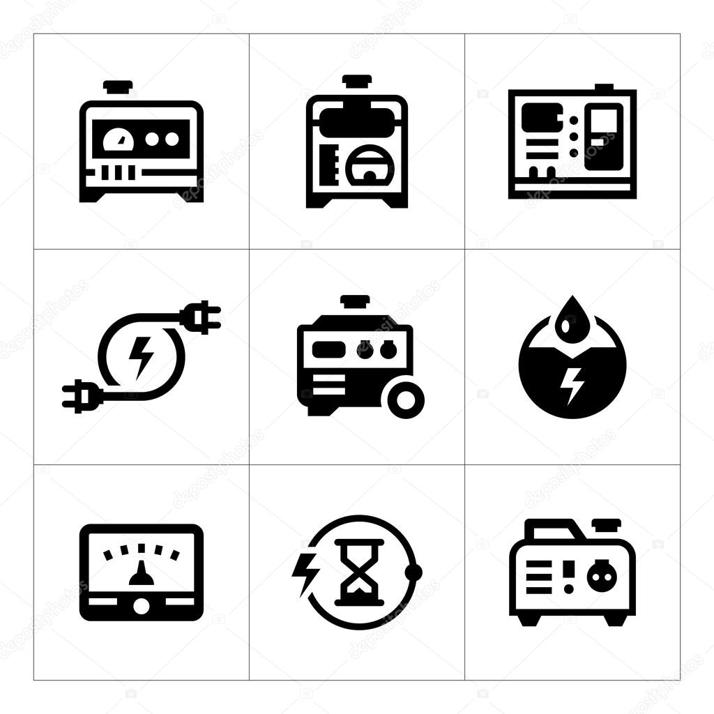 Set icons of electrical generator — Stock Vector © motorama #98936848
