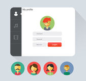 Felhasználói ikonok és az emberek ikonokat, lapos stílusú vektor bejelentkezés alakú jelvény