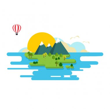 Vector illustration. Icon. Island washed by the water