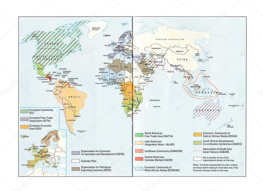 Thailande Carte Langues.Carte Du Groupe Economique Mondiale Photo Editoriale