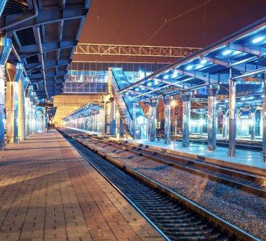 Railway station at night, Donetsk, Ukraine