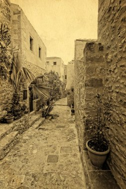 traditional greek street in monemvasia vintage postcard