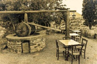 traditional Greek olive oil press in Monemvasia village, Laconia, Peloponnes