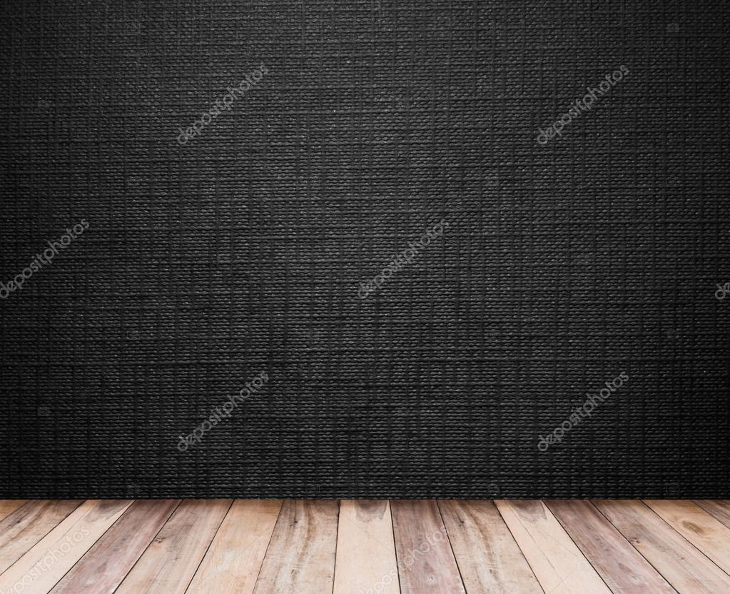 Houten vloer en zwart behang u stockfoto p kanchana