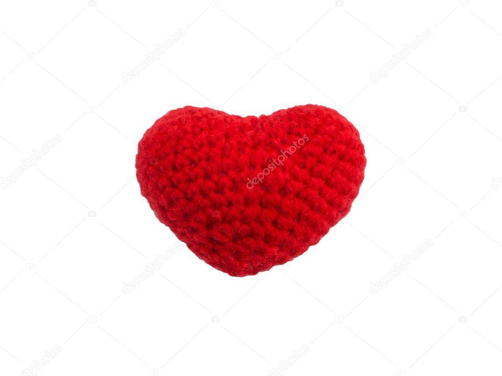 Häkeln stricken rotes Herz isoliert — Stockfoto © P.Kanchana #63744541