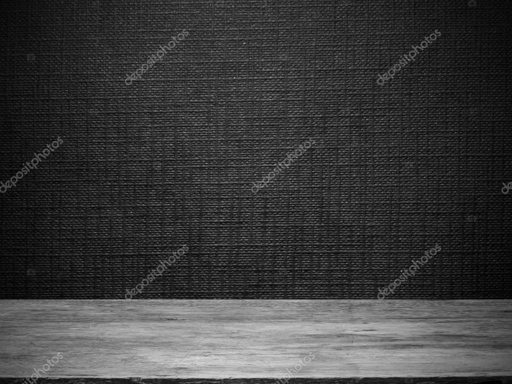 Zwarte lege ruimte binnenlandse houten vloer muur stock