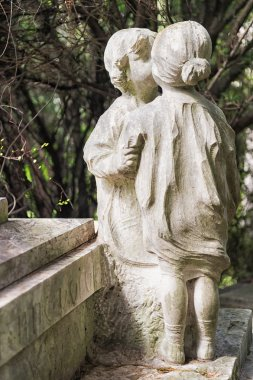 Marble statues in the cemetery