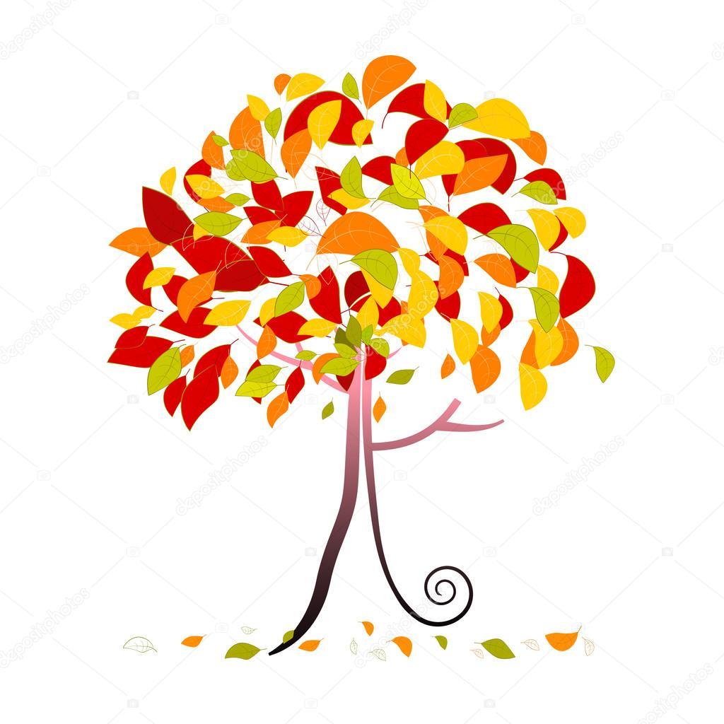 木の落ち葉は白い背景で隔離の抽象的なベクトルの秋の木イラスト