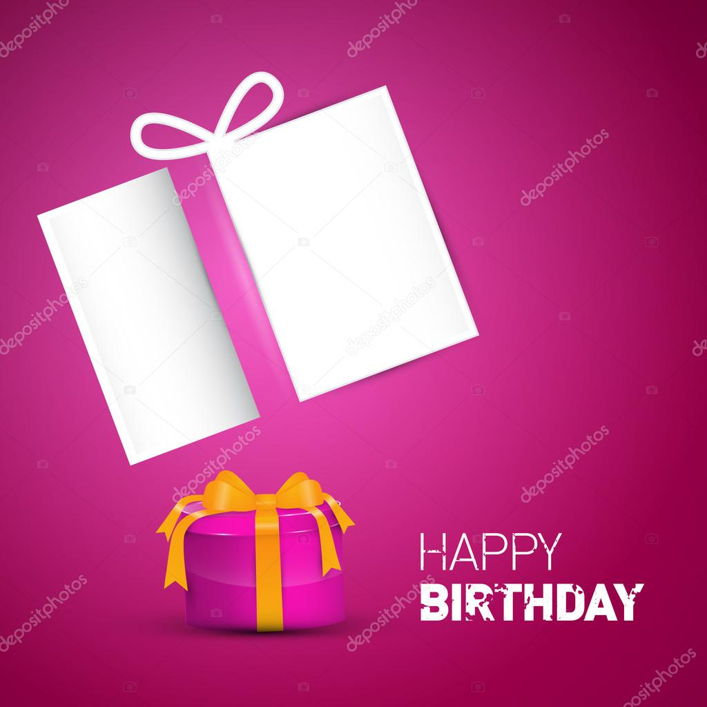 Happy Birthday Card Pink Vector Birthday Background With Gift Box