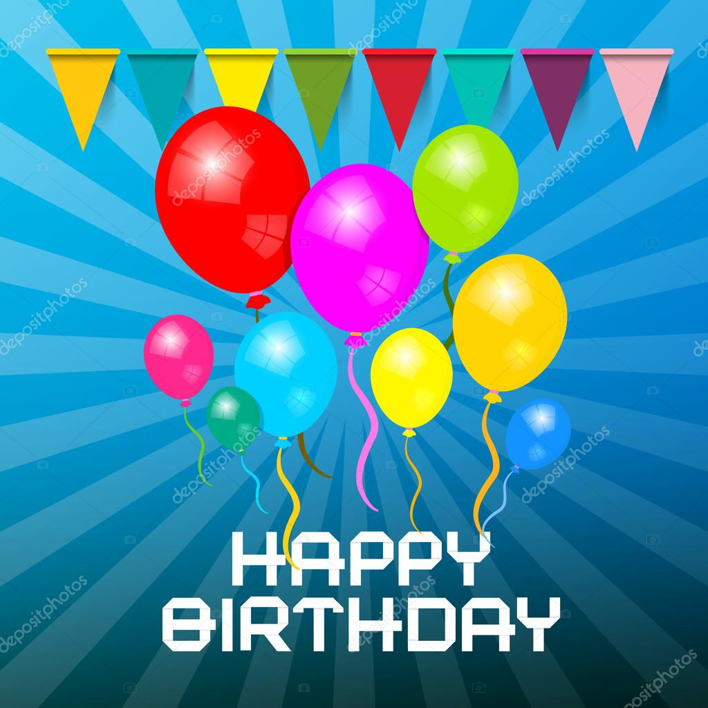 Happy birthday card colorful balloons with flags birthday colorful balloons with flags birthday invitation symbol on blue retro background modern vector birthday illustration vetor de mejn stopboris Images