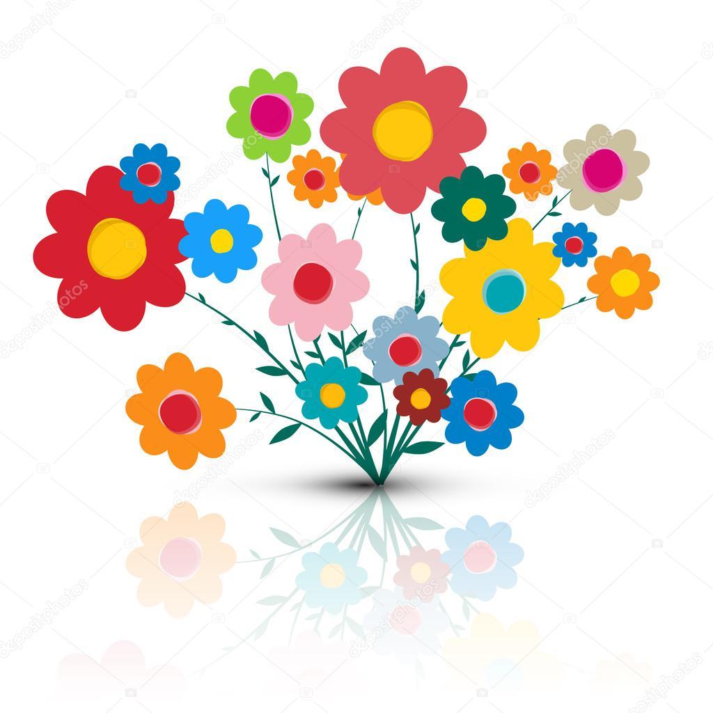Flowers Illustration. Vector Flower Cartoon. Retro Colorful